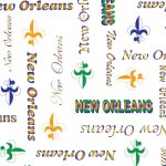 New Orleans Word Print Fabric: Purple, Green and Gold