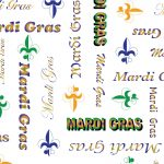 Mardi Gras Word Print Fabric: Purple, Green and Gold