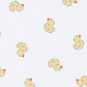 Duck Print Fabric: Yellow Ducks on White Flannel