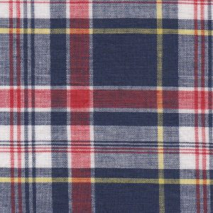 Madras Plaid Fabric - Orange, Yellow and Blue | Madras Fabric Wholesale