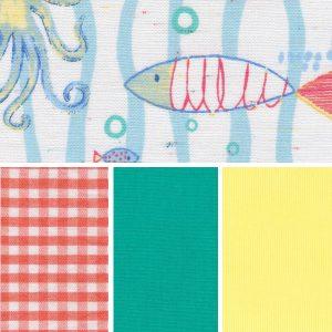 Sea Life Fabric Collection - Aqua & Orange