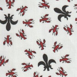 Crawfish Fleur De Lis Fabric: Red and Black | Fleur De Lis Print