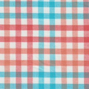 Orange and Turquoise Check Fabric