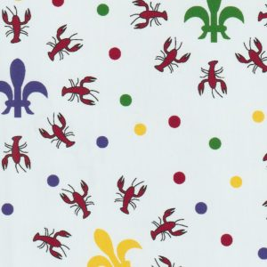 Crawfish Fleur De Lis Fabric: Red, Green, Blue and Yellow