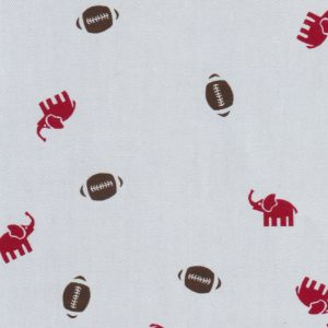 Elephant and Football Print Fabric: 100% Cotton | Chambray Print Fabric