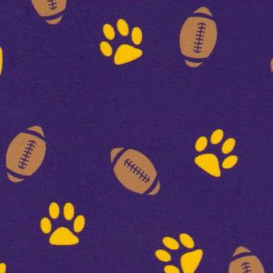 Paw and Football Print Fabric | Gold and Purple Fabric
