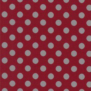 Grey and Red Polka Dot Fabric