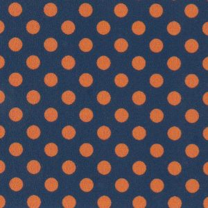 Orange and Navy Polka Dot Fabric