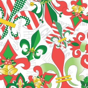New Orleans Fabric: Christmas Fleur-de-lis | Louisiana Fabric