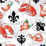 Cajun Fabric: Crawfish, Fleur-de-lis & Peppers | Louisiana Fabric