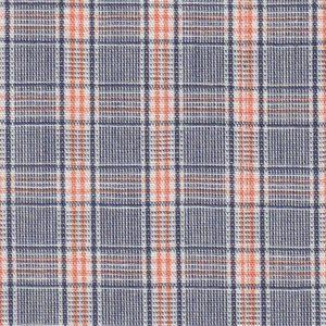 Orange and Navy Plaid Fabric - 100% Cotton   Wholesale Plaid Fabric