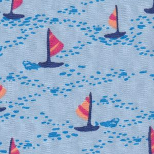 Sailboat Print Fabric: Blue, Orange & Raspberry - Print #2285