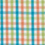 Lime, Turquoise, & Orange Check Fabric - #T112 | Tattersall Check Fabric
