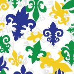Mardi Gras Fleur-de-lis Fabric: Large - Green, Purple & Gold | Mardi Gras