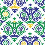 Mardi Gras Scroll Fabric: Green, Purple and Gold | Mardi Gras Fabric
