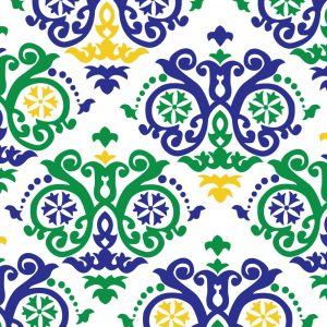 Mardi Gras Scroll Fabric: Green, Purple and Gold | Mardi Gras Fabric