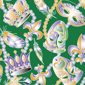 Mardi Gras Mask Fabric: Beads, Feathers, Fleur-de-lis | Cajun Fabric