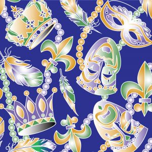 Mardi Gras Mask Fabric: Beads & Feathers | New Orleans Fabric