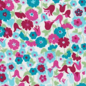 Floral Fabric: Pink, Turquoise and Green | Floral Fabric Wholesale