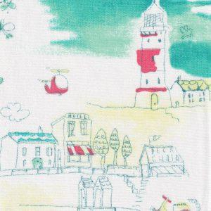 Seacoast Village Fabric: Aqua, Pink & Yellow | Lighthouse Fabric
