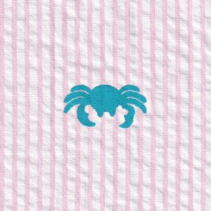 Crab embroidered seersucker fabric