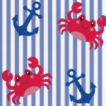Anchor and Crab Fabric: Red and Blue | Wholesale Nautical Fabric