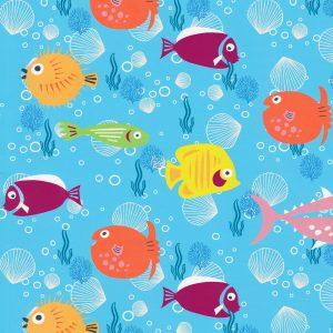 Fish Print Fabric - Print 2292: 100% Cotton   Sea Life Fabric