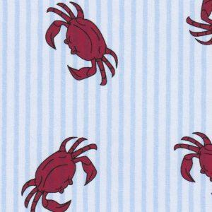 Crab Printed Seersucker Fabric | Crab Fabric - 100% Cotton