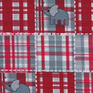 Elephant Print Fabric: Red & Gray | Plaid Print Fabric