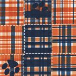 Tiger Paw Print Fabric : Orange and Navy | Paw Print Fabric Wholesale