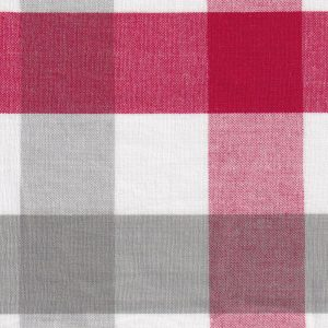 Red and Grey Plaid Fabric - #T116 | Tattersall Check Fabric