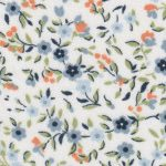 Blue and Orange Floral Fabric: 100% Cotton | Floral Fabric Wholesale
