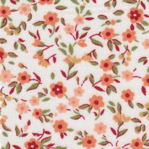 Orange and Green Floral Fabric: 100% Cotton | Floral Fabric Wholesale