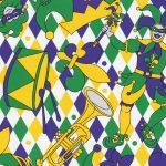 Mardi Gras Jester Fabric: Fleur-de-lis, Trumpets | New Orleans Fabric