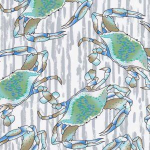 Blue Crab Fabric: Print #2330 | Crab Print Cotton Fabric