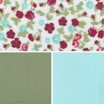 Floral Fabric Collection - Leaf and Aqua | Floral Print Fabric