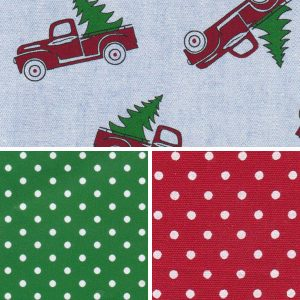 Red Truck with Christmas Tree Fabric Collection | Christmas Print Fabric