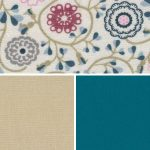 Floral Fabric Collection - Tan and Teal | Floral Print Fabric