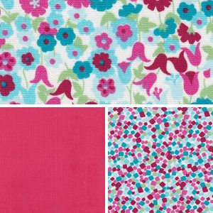 Floral Fabric Collection - Raspberry, Green and Teal | Floral Print Fabric