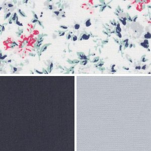 Floral Fabric Collection - Navy and Sliver | Floral Print Fabric