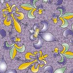 Fleur-de-lis Fabric: Purple, Gold, and Green | New Orleans Fabric