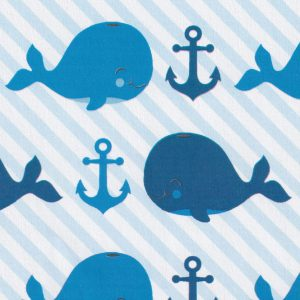 Whale Print Fabric: Blue and Navy - Print #2346 | 100% Cotton
