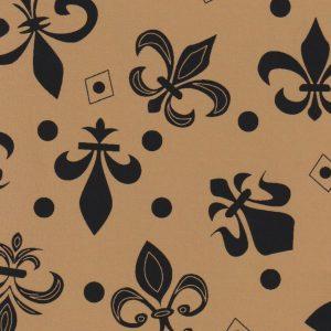 Black Fleur-de-lis Fabric: Black and Bronze | New Orleans Fabric