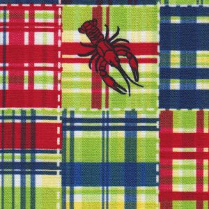 Crawfish Fabric: Red, Blue and Green   Patchwork Fabric