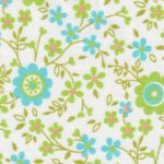 Turquoise, Lime and Orange Floral Fabric | Floral Fabric Wholesale