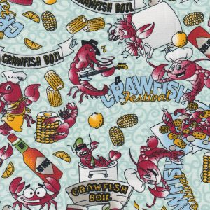 Crawfish Boil Fabric | Crawfish Fabric - 100% Cotton