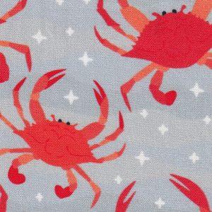 Crab Fabric: Orange and Grey - Print #2362 | Nautical Fabric