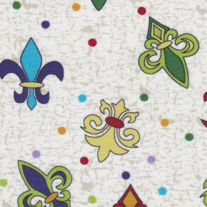 Fleur-de-lis and Dot Fabric: Purple, Gold, and Green | New Orleans Fabric