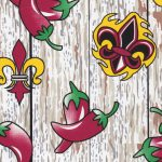 Fleur-de-lis and Chili Pepper Fabric