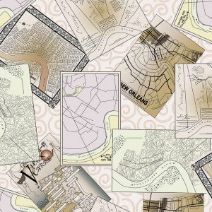 New Orleans Map Fabric